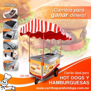 Carrito de hot dogs y hamburguesas