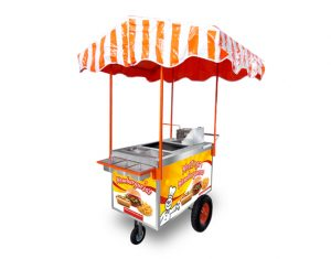 Carrito para Hot Dogs color naranja