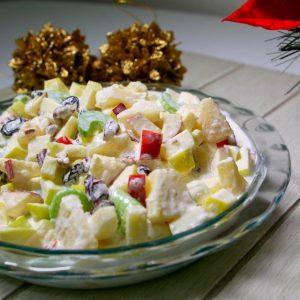 ensaladas navideñas de apio, piña y nuez facil de preparar